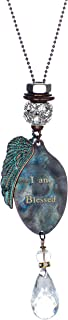 Jewelry Nexus I Am Blessed Stamped Spoon Head Pendant Angel Wing Charm Necklace