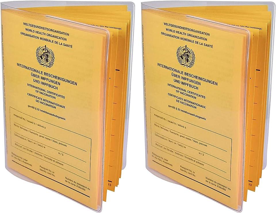 Impfpass Hülle 2er Set neuer Impfpass 93 x 130 mm | 2021 Internationaler Impfpass Impfausweis, Schutzhülle transparent Impfausweis - Reißfeste Impfpasshülle - Impfpass Etui für die Impfbescheinigung
