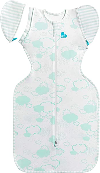 Love To Dream Swaddle UP 50 50 Transition Bag Organic Mint Medium 13 19 Lbs Patented Zip Off Wings Gently Help Baby Safely Transition From Being Swaddled To Arms Free Before Rolling Over