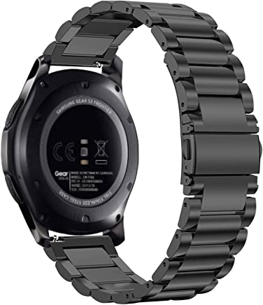Fintie Armband für Samsung Galaxy Watch 46mm / Gear S3 Frontier/Gear S3 Classic/Huawei Watch 2 Classic/Moto 360 2. Generation 46mm Smart Watch - 22mm Uhrenarmband Edelstahl Metall Ersatzband, Schwarz