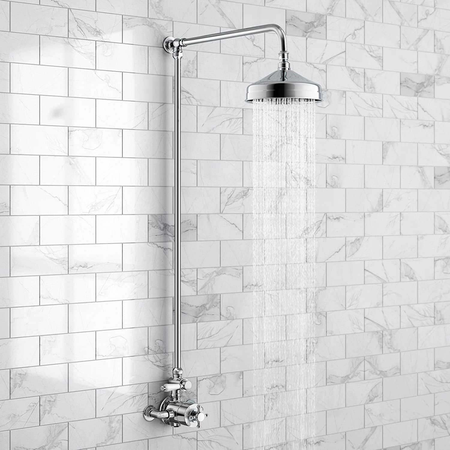 IBathUK Traditional Thermostatic Exposed Mixer Shower Set Chrome 200mm round Adjustable Head