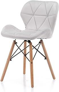 World of Chairs Schalenstuhl im Skandi-Stil, H 74 X B 47 x T 42 cm, Gesteppte Polsterbezüge, Beine aus Buchenholz verstärk...