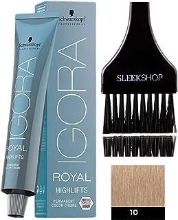 Schwarzkopf IGORA Royal HIGHLIFTS Permanent Hair Color Creme (with Sleek Tint Applicator Brush) Haircolor Cream (10-0 Ultra Blonde)