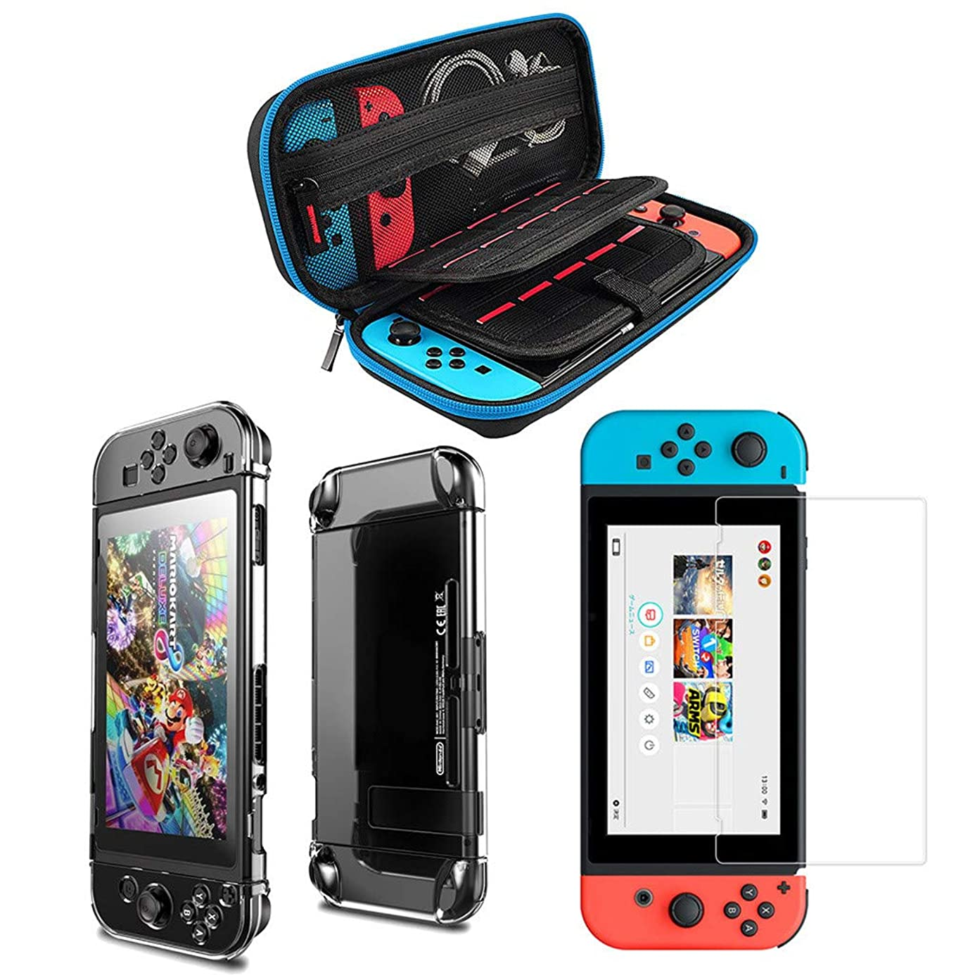 Lljin Carrying Case Carbon Fiber Shell Portable Pouch Travel Bag for Nintendo Switch
