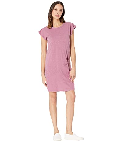 Mod-o-doc Flutter Sleeve Asymmetrical Twist Front Dress in Slub Jersey (Purple Rose) Women