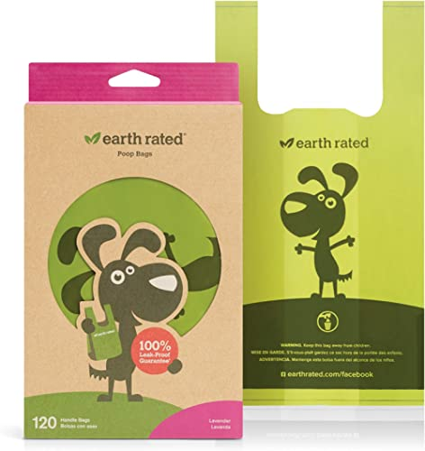 Earth Rated Eco-friendly Dog Poop Bags, 120 Extra Thick and Strong Dog Bags for Poop with Easy-tie Handles, Guarantee...