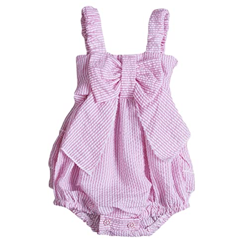 6938d803b1a Charm Kingdom Baby Girls Striped Seersucker Bubble Straps Ruffle Layers  Bowknot Romper