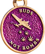 product image for From War to Peace Buds Not Bombs High Flyer Purple Haze Enamel Necklace on Polished Brass Ball Chain
