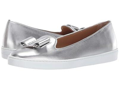 Salvatore Ferragamo Novello Leather Bow Slip-On Sneakers (Silver/Argento Nappa Silk) Women
