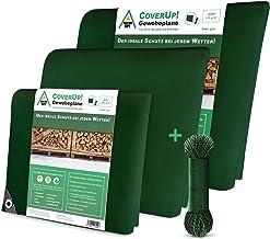 CoverUp! zeildoek groen 4 x 4m [120 g/m2] + 18m touw, waterproof dekzeil met ogen voor tuinmeubilair, zwembad, auto, aanha...