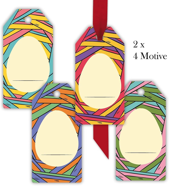 Kartenkaufrausch 80 moderne, bunte Osternest Geschenkanhnger   Geschenkkarten   Papieranhnger   Hnge Etiketten   Tags Format 5,5 x 11cm mit Osterei zum beschriften