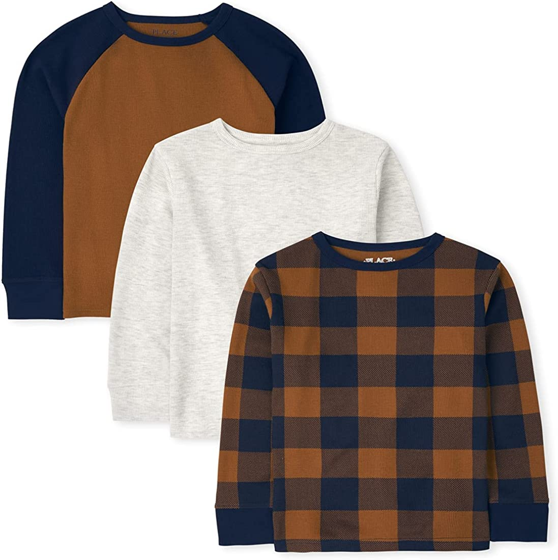 The Children's Place Boys' Long Sleeve Solid Plaid and Raglan Thermal Top 3-Pack