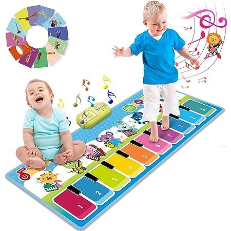 Joyjoz Piano Tapis Musical Plus de 90 Sonorités, Tapis de Danse pour Enfants, Jouets Musicaux pour Bébés, Filles & Garçons 1 à 5 Ans (110 x 36 cm)
