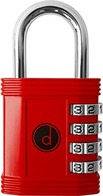 Padlock 4 Digit Combination Lock - for Gym School Locker, Outdoor Gate, Shed, Fence, and Storage - Weatherproof Metal - Keyless, Easy to Set, Resettable - Red