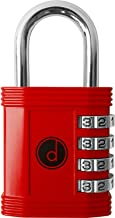 Padlock - 4 Digit Combination Lock for Gym, Sports, School & Employee Locker, Outdoor, Fence, Hasp and Storage - All Weather Metal & Steel - Easy to Set Your Own Keyless Resettable Combo - Red