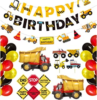 AM ANNA Construction Birthday Party Supplies Dump Truck Party Decorations Kits Set with 2 foil balloons for Kids Birthday ...