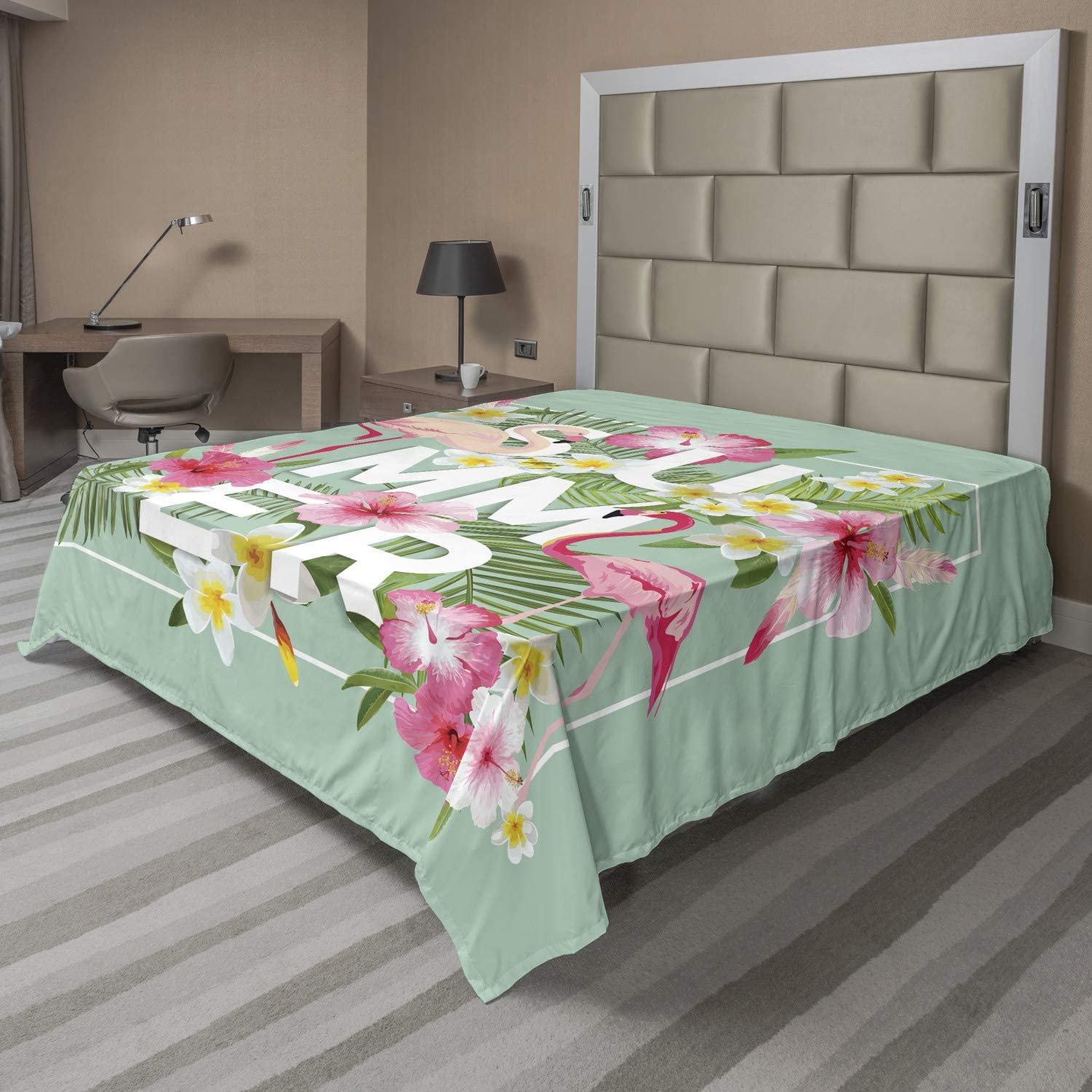 Ambesonne Floral Flat Popular popular Sheet Tropical Retr Flamingos with Shipping included Flower
