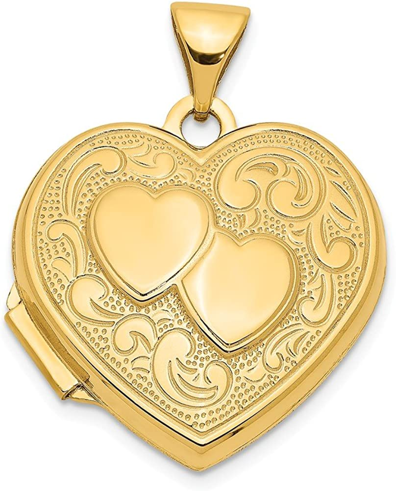 14k Yellow Gold Double Heart Photo Pendant Charm Locket Chain Necklace That Holds Pictures Fine Jewelry For Women Gifts For Her