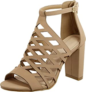 Juliette Caged Gladiator Block Heel Strappy Dressy Sandals Shoes for Women (Assorted Colors / Low and High Heels)