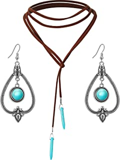 Bohemian Turquoise Pendant Long Choker Suede Choker Necklace with Vintage Turquoise Statement Dangle Earrings for Women