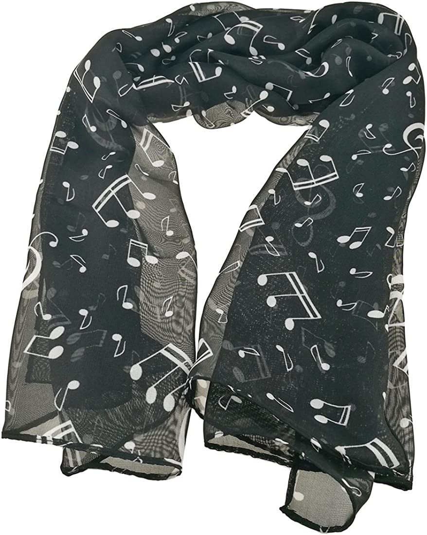 Colorful Elegant Women's Music Note Scarf Shaw Chiffon Long Limited Special Price Wrap Max 45% OFF