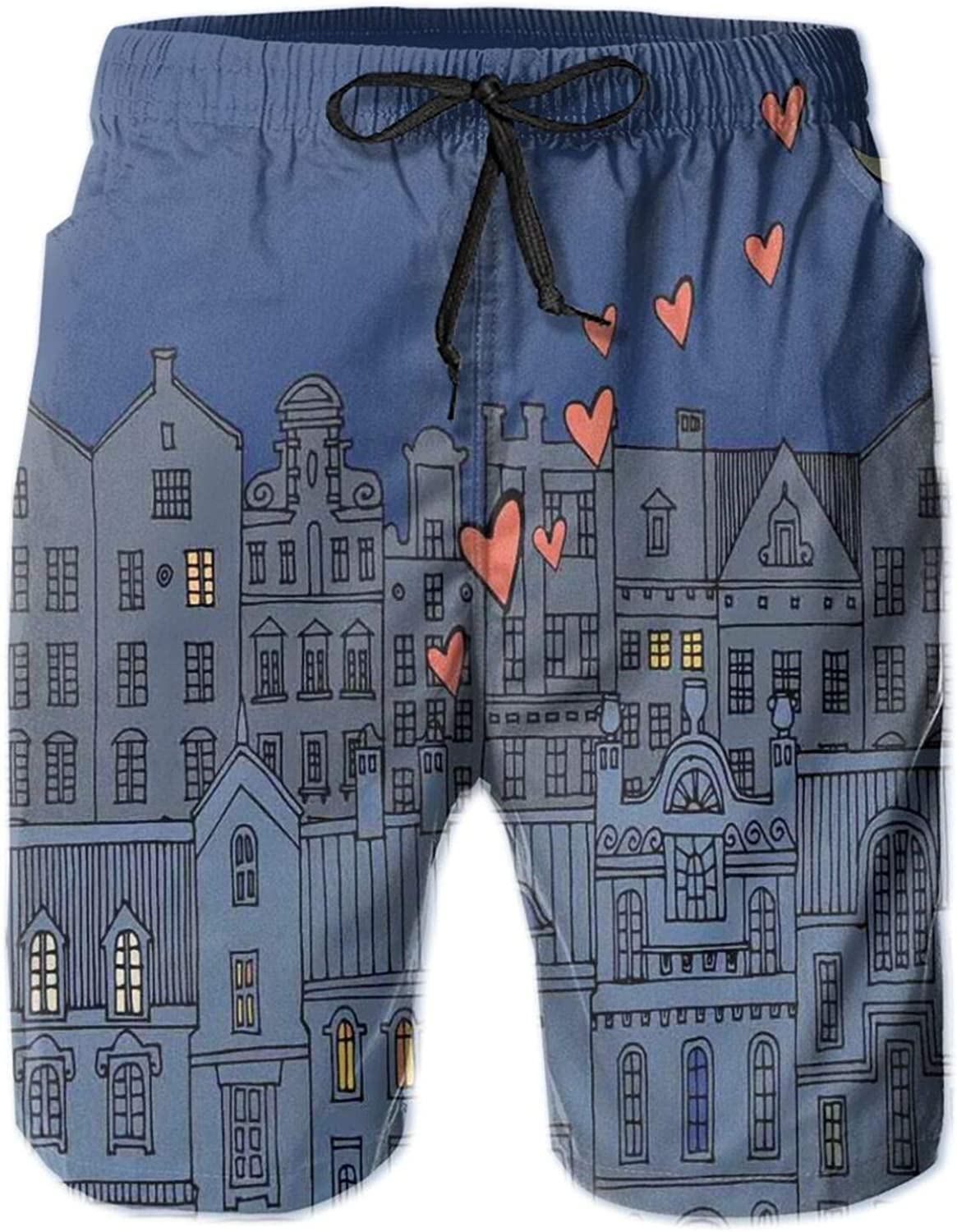 Street View of Antique City Artistic Hand Drawn Style Houses Hearts and Crescent Drawstring Waist Beach Shorts for Men Swim Trucks Board Shorts with Mesh Lining,L