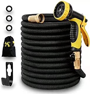 Panda Grip [Updated 3750D] 75ft Garden Water Hose,Expandable and Flexible Strongest Triple Latex Core with 3/4 Solid Brass Fittings,10 Function Spray Nozzle,3750D Fabric for Watering Garden,Cleaning