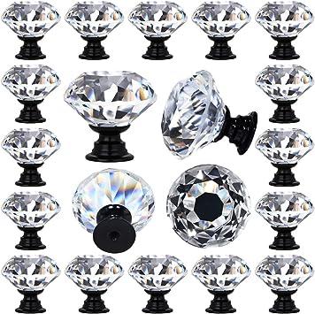 Deelf 12 Pcs Clear Crystal Glass Drawer Cabinet Pulls Knobs Diamond Shape Decorative For Kitchen Dresser 30mm 1 1 4 Black Color Base Amazon Com