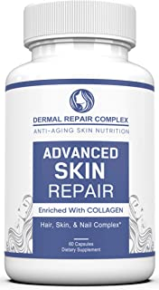Dermal Repair Complex Skin Supplement - Advanced Collagen, Hyaluronic Acid and Vitamin C for Anti-Aging & Skin Health Support 60 Capsules