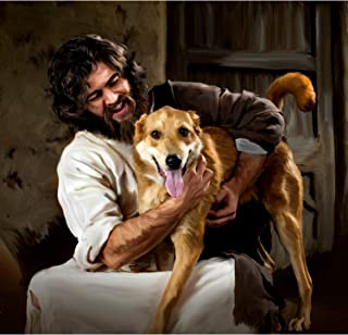 """Deb Minnard , an Award Winning Artist, Presents """"Jesus and Dog"""" It Will Bring a Smile of Joy to You and Your Family and Friends. This 8x10, Print Will Last a Lifetime. Great Collectors Item."""