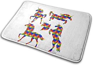 LNUO-2 Indoor Entrance Doormat Unicorn Silhouettes Running Rearing Rug Floor Mats for Pets, Easy Clean
