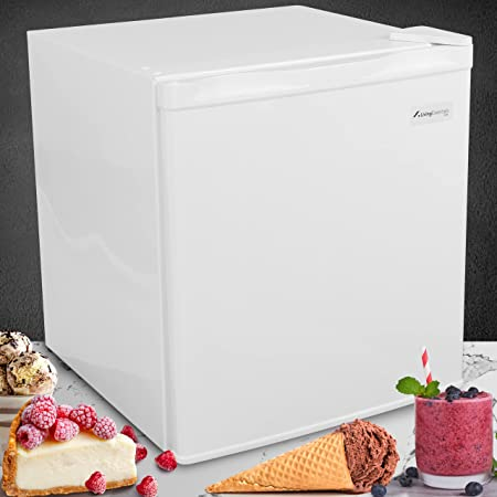 Alaska Energy Efficient Silent Compact Upright Mini Freezer ONLY, with Reversible Door 7-Level Adjustable Temperature Level, Removable Shelf 1.1 CU FT Capacity for Office/Home/Dorm/Garage (White)