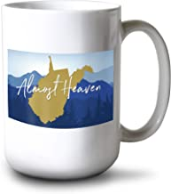 Lantern Press West Virginia - Almost Heaven - State Silhouette and Mountains - Blue and Gold (15oz White Ceramic Mug)