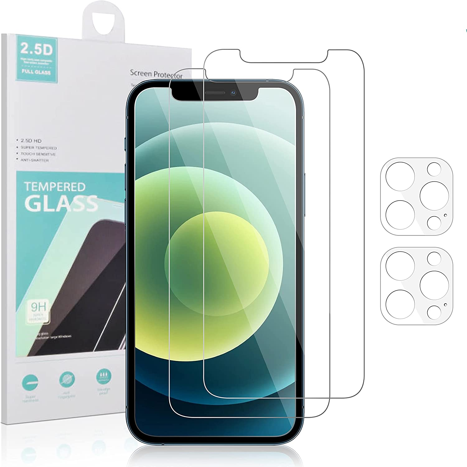 Iphone 12 Pro Max [ 2 Pack Tempered Glass Screen Protector + 2 Pack Camera Lens Protector with Cleaning Wipes and Dust Absorber ]
