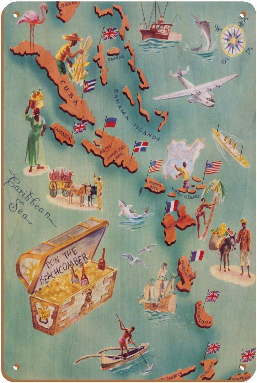 Mapa de Islas del Caribe – Bahama Islas – EE. UU. Islas Vírgenes – menú, Ron lista de bebidas – Don el Beachcomber Tiki Bar y restaurante – mapa ...