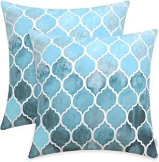 CaliTime Pack of 2 Cozy Throw Pillow Cases Covers for Couch Bed Sofa Farmhouse Manual Hand Painted Colorful Geometric Trellis Chain Print 16 X 16 Inches Main Sky Blue & Smoke Blue