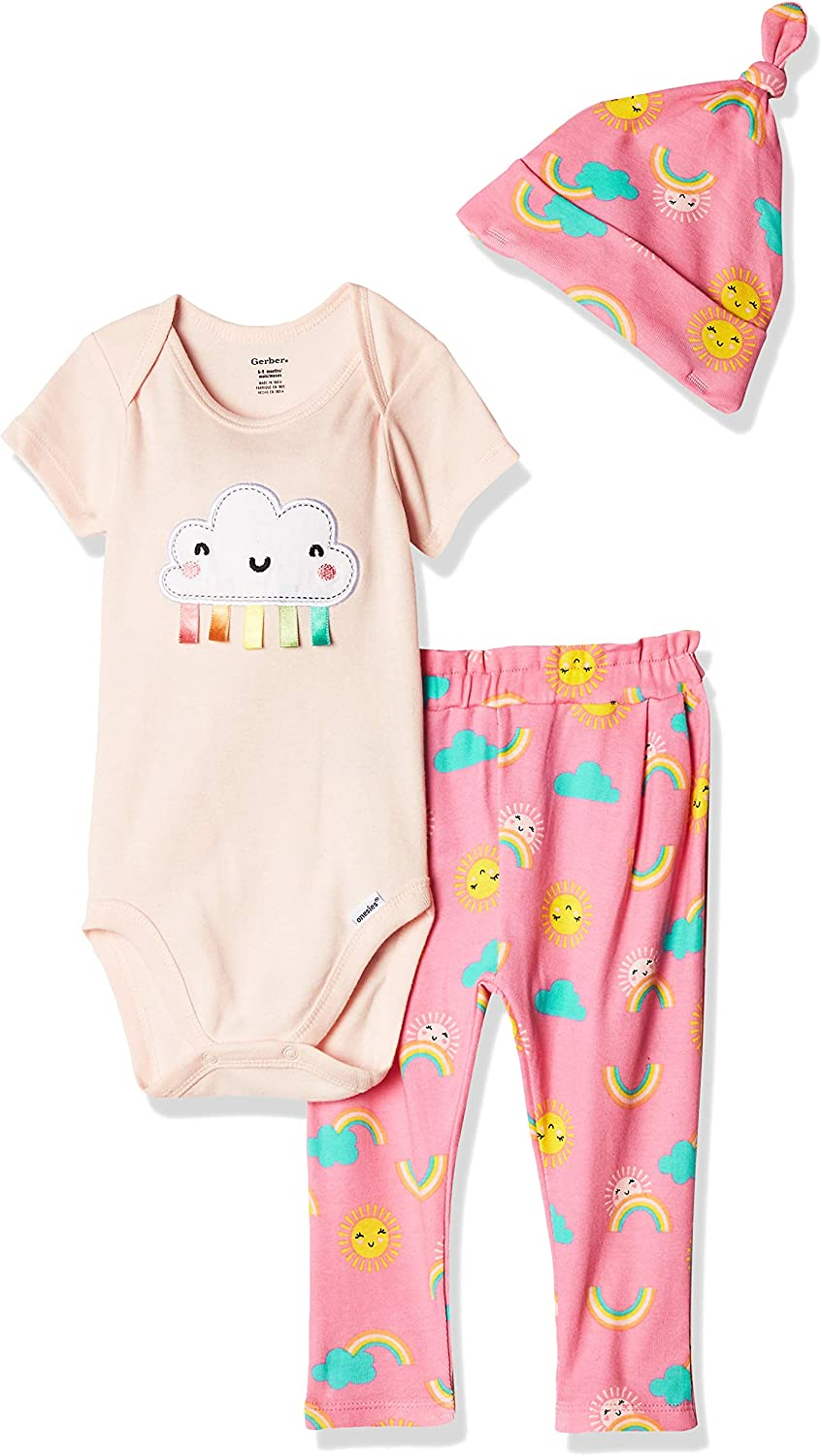 Gerber Baby Girls' 3-Piece Onesies Bodysuit, Pant and Cap Set: Clothing, Shoes & Jewelry