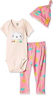 Gerber Baby Girls' 3-Piece Onesies Bodysuit, Pant and Cap Set