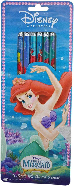 6 Pack Ariel Pencils - Little Mermaid Pencils