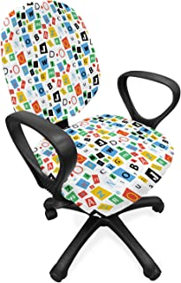 Lunarable Letters Office Chair Slipcover, Colorful Alphabet with Different Fonts Fun Typescript ABC Themed Pattern, Protec...