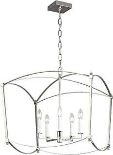 Feiss F3325/5PN Thayer Lantern Candle Chandelier, 5-Light, 300 Watts, Polished Nickel..