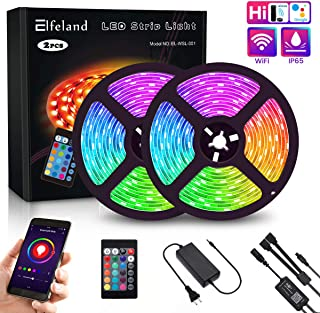 LED Strip Lights, Elfeland WiFi 32.8FT 10M 300 LEDs SMD 5050 Color Changing Kit Work with Alexa Google Assistant Strip Lights Wireless Phone APP Controlled Rope Light Waterproof Flexible Tape Lights