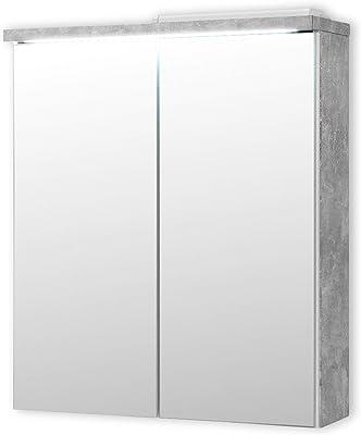 Stella Trading Pool Miroir Salle de Bain avec lumière LED en Look béton, Blanc-Armoire de Toilette Moderne avec Beaucoup d'espace de Rangement, Engineered Wood, 60 x 68 x 20 cm