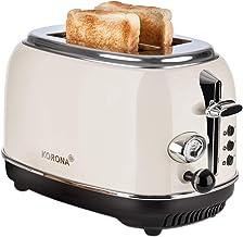 Korona 21666 Toaster | 2 Scheiben | Creme | Röstgrad-Anzeige | auftauen | rösten | aufwärmen | 810 Watt | Brötchen-Aufsatz | Krümel-Schublade | Brotscheiben-Zentrierung