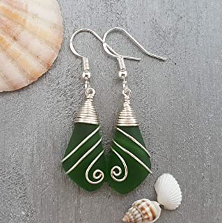 "product image for Handmade jewelry from Hawaii, wire swirls Emerald sea glass earrings,""May Birthstone"", (Hawaii Gift Wrapped, Customizable Gift Message)"