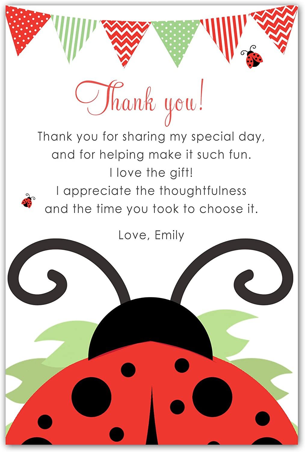 100 Thank You Cards Notes Personalised Ladybug Girl Birthday Baby Shower Red + White Envelopes