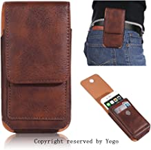 Esing Universal PU Leather Wallet Case for iPhone 5s se 6 6s 7 8 &sony xperia z5 compact/ x compact/HTC one m7 10 mini Rotation Clip-On Waist Holster Pouch Bag with Card Slots(Brown)