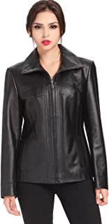BGSD Women's Kim Lambskin Leather Scuba Jacket (Regular and Plus Size and Short)