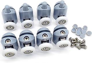Polea para mampara de ducha, 4piezas superiores y 4piezas inferiores, para puerta corredera de cristal baño, incluye rodamientos de recambio (22mm de diámetro)