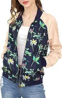 Women's Floral Jackets Contrast Zip Up Light Weight Bomber Jacket